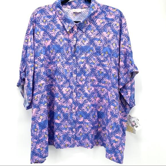LuLaRoe Tops - NWT 3XL LuLaRoe Amy Pink/Blue Hawaiian Print Top